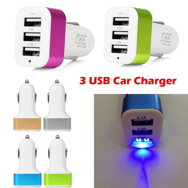 best selling 2020 Universal Triple USB Car Charger Adapter USB Socket 3 Port Car-charger For iPhone Samsung Ipad Free DHL If more than 200pcs