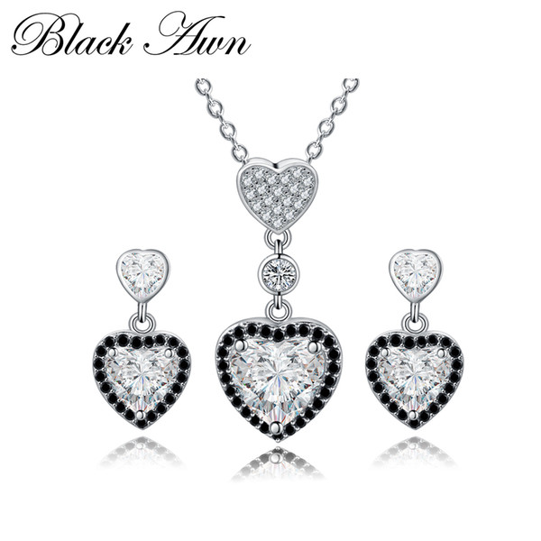 [AWN PRETO] 925 Sterling Silver Fine Jewelry Set Na Moda Engagement Wedding Necklace + Brinco para As Mulheres PT156