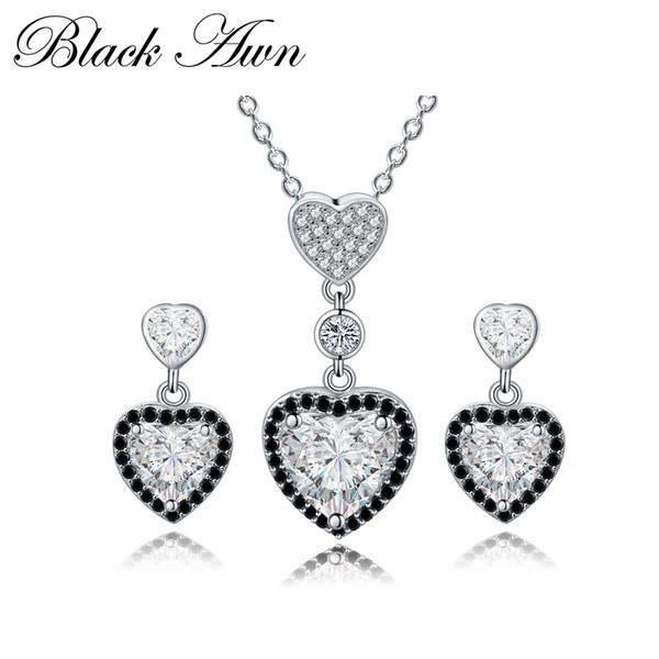 [NEGRO AWN] 925 joyería fina de plata esterlina fijó el collar + el pendiente de la boda del compromiso de moda para las mujeres PT156