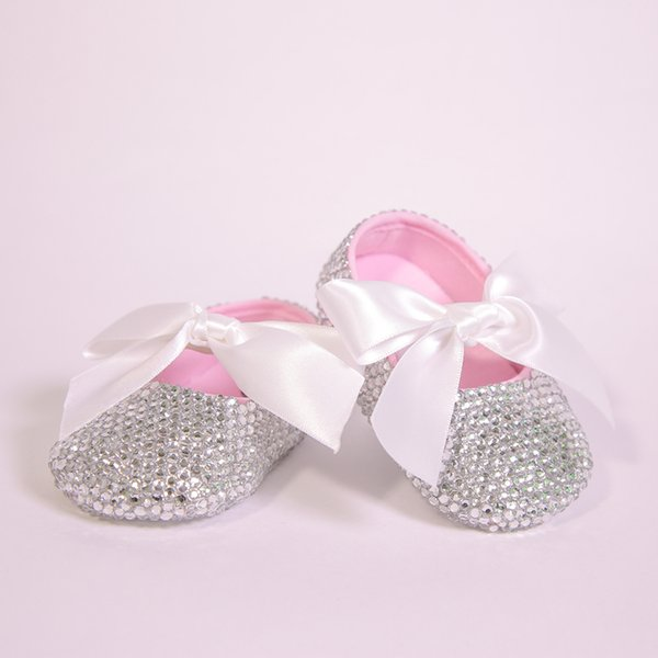 94cbeb15485e All Covered Clear Sparkle Bling out White Ribbon Bow Custom Handmade  Christening 0-1 Princess Newborn Baby Girl Ballerina Shoes
