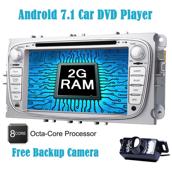 Backup Camera Double Din Car Stereo Android 7.1 2GB+32GB system 7''Car DVD Player for Ford Focus In Dash GPS Navigation Auto Radio