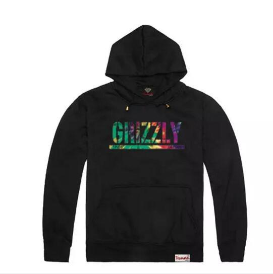 New Grizzly hoodies Diamond Supply mens Graphic Sweatshirt Grizzly brand crewneck pullover hooded sweatshirt thick Free Shipping