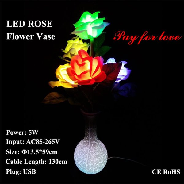 LED Rose Flower Vase Lamp Dream table Desk lights Girlfriend Christmas Gift Holiday lighting USB Plug AC Power Adapter USB Cable Wire Line