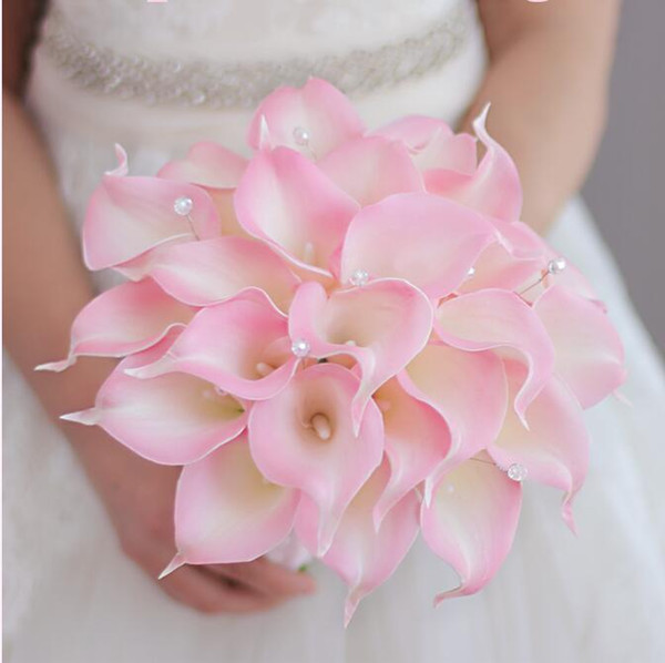 Western Style Wedding Bouquet For Brides Simulation Pink Calla Lily Flowers Bridal Bouquets Brooch Buque De Noiva Artificial Flowers 2018