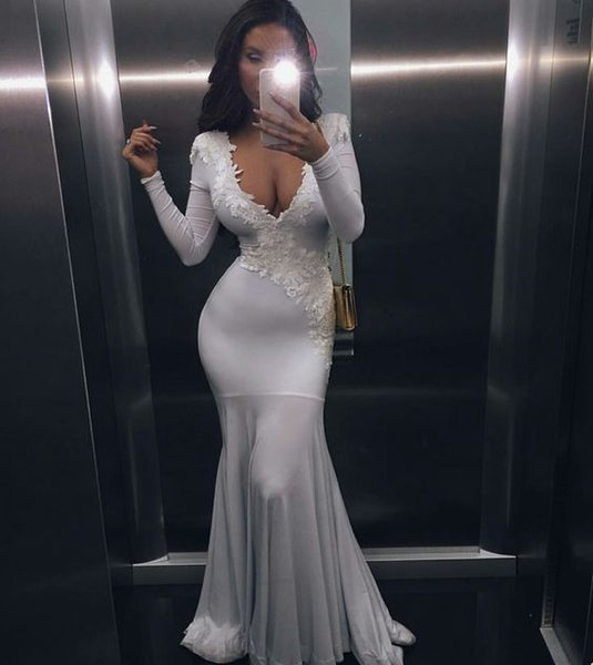 2018 sexy cheap plus size vestido de festa special occasion dresses white long sleeves prom dress mermaid