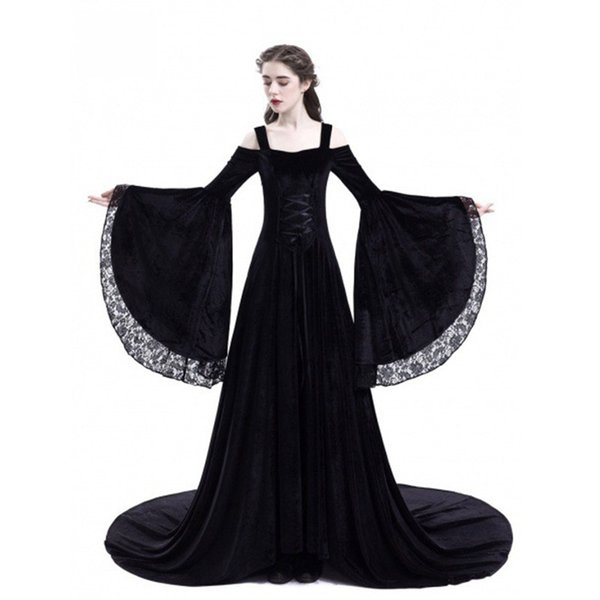New Medieval Costumes for Women Princess Dress 2018 Plus Size Adults Gothic Queen Lace Fancy Party Halloween Renaissance Costume