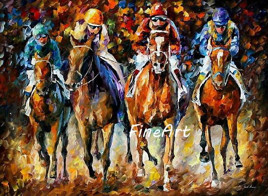 hand painted horse racing oil paintings knife painting Leonid Afremov artist canvas painting reproduction decoration wall art home decoratio