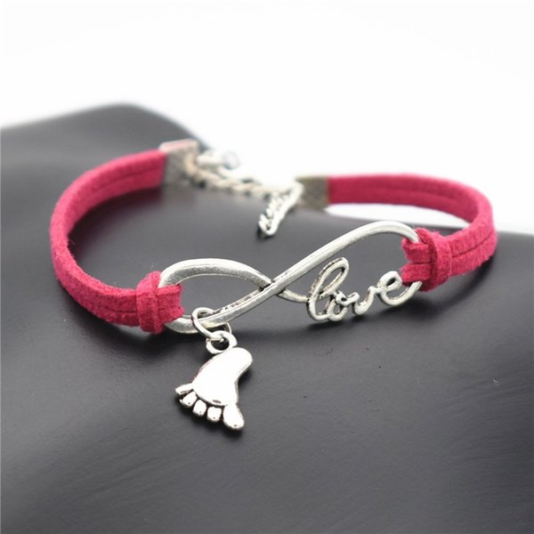Multiple Layers Infinity love foot Pendant Rose Red Leather Bracelets Bangles For Woman Man 9 Color Fashion Pulsera Mujer Charm Jewelry Gift