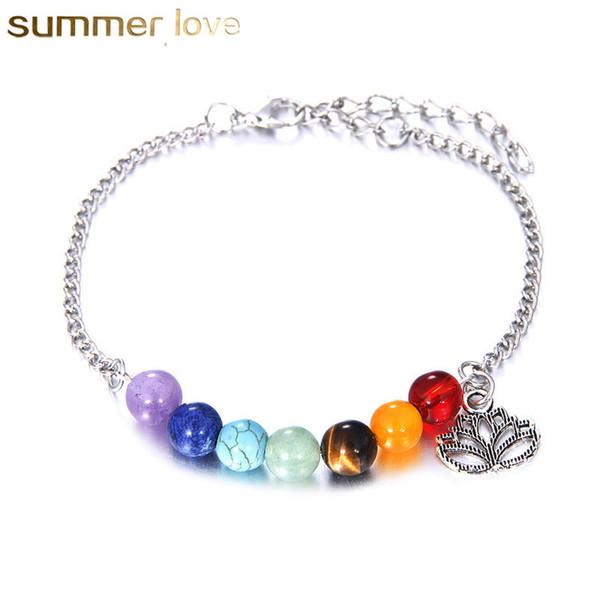 7 Chakren Armbänder Für Frauen Kristall Heilung Balance Perlen Naturstein Armbänder Lotus Charms Yoga Großhandel Schmuck