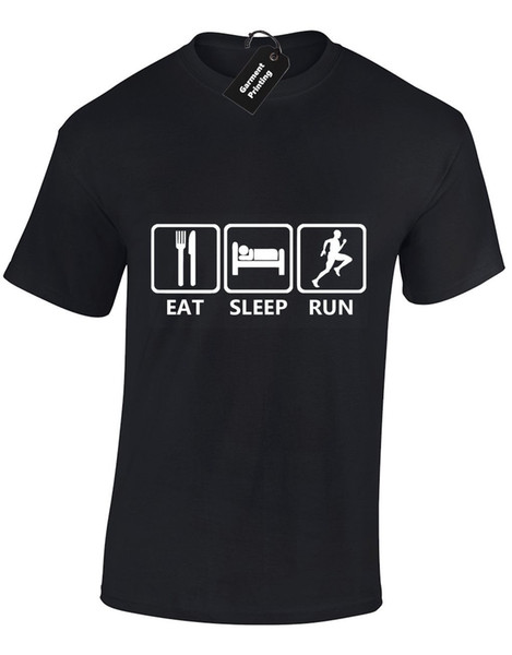 EAT SLEEP RUN MENS T SHIRT TEE RUNNER FITNESS GYM RUNNING TRAINING TOP Cool Casual pride t shirt men Unisex