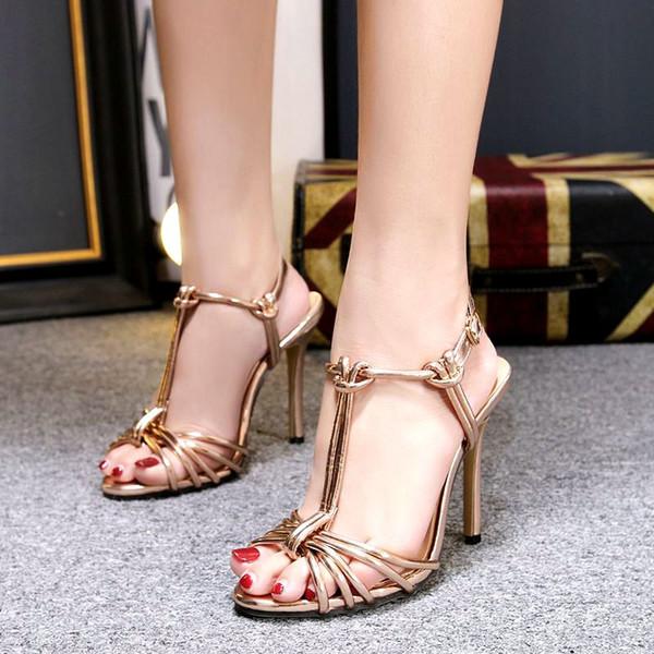 Acheter Golden T Sandales À Bande Étroite Stiletto Gladiateurs Orteils Peep Sandales À Talons Hauts Chaussures De Soirée Dans La Soirée Pour Femme De