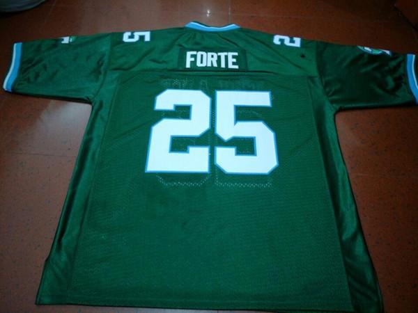 Tatsächliches Foto Männer # 25 Tulane Matt Forte Grünes College-Trikot Größe S-4XL oder benutzerdefinierte Namen oder Nummern-Trikot