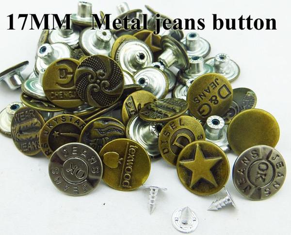 50 PCS 17 MM misturado 15-25patterns ROUPA botão jean metal botões JEANS BOTÃO MJB-079