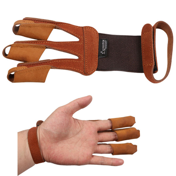 Archery 3 Finger Guard Protective Glove Cow Leather Suede Finger Tab Protector for Recurve Longbow Training