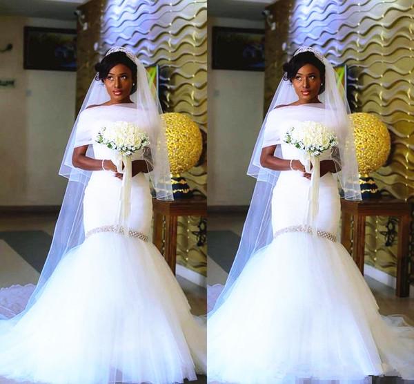 Mermaid abito da sposa con involucro 2019 nuovi cristalli dell'innamorato Liste lunghezza del pavimento nero ragazze abiti da sposa personalizzato più dimensioni
