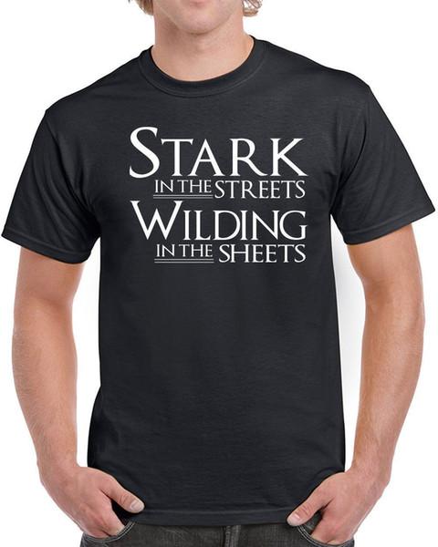 Stark Dans Les Rues Wildling Dans Les Feuilles Hommes T-shirts Imprimés T Shirt 2018 Marque De Mode Top Tee Homme Haute Qualité