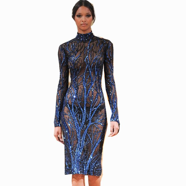 Clássica Árvore Azul Bordado Elegante Lantejoulas Gaze / Malha Tecido de Renda brilho brilhando vestido vestidos nova chegada vestidos de lantejoulas