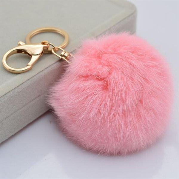 15 Colors Faux Rabbit fur Ball Pom Pom Keychain Cell Phone Car Key Holder Pendant Handbag Gold Metal Charm Key Ring