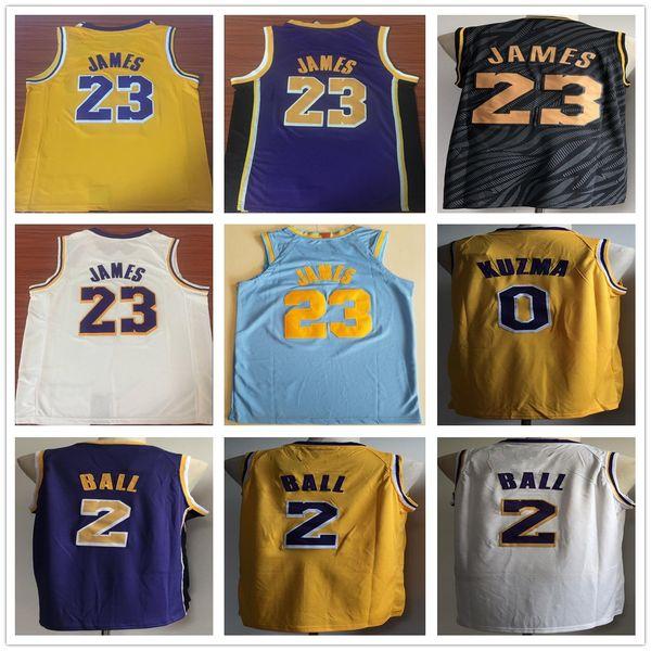 new products 57048 2b904 2019 2018 2019 New 23 James Jersey 0 Kyle Kuzma 2 Lonzo Ball High Quality  LeBron James Gold Yellow Basketball Jerseys White Blue Black From ...