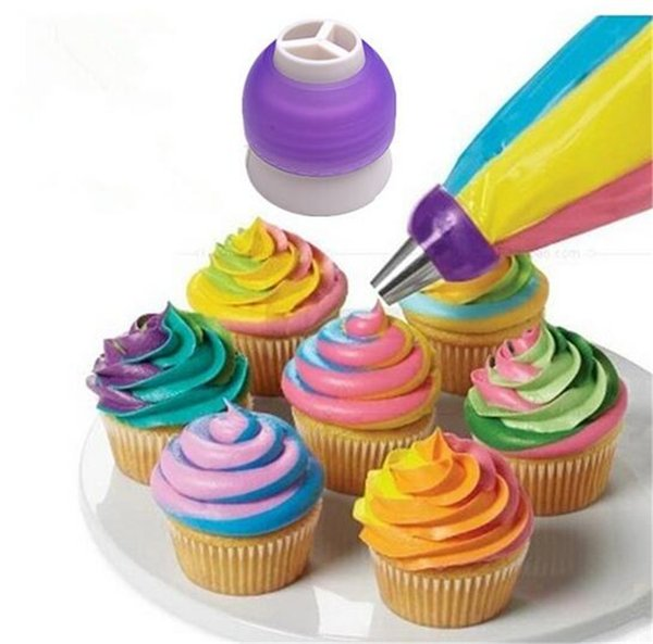 Three-colour Nozzles Converter Dessert Decorators Cake Decorating Icing Piping Cream Syringe Tips Muffin Pastry DIY Baking Tools