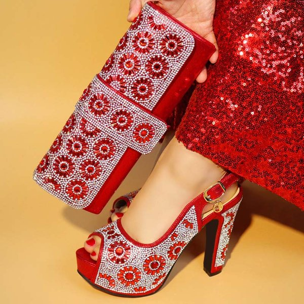 2018 Fashion italian design shoes and matching bag High Quality African women Shoes And Bag For Evening Party