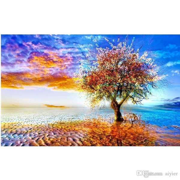 5D DIY Diamond Embroidery Fashion Full Diamond Painting Cross Stitch Home Party Decoration Color Earth Tree