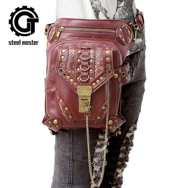 Factory wholesale brand bag fashion rivet multi function purse individual snake leather steam punk bag leisure retro chain punk shoulder bag