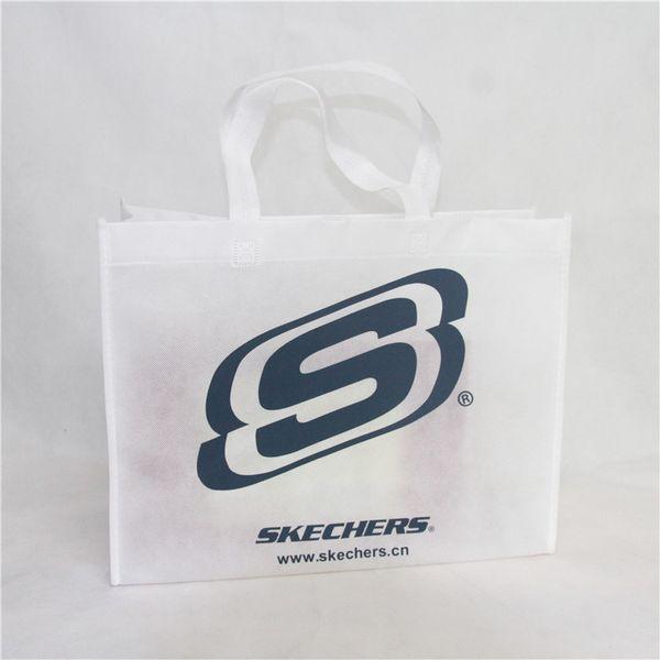 Comercio al por mayor 2000 unids / lote personalizado impreso logotipo de la empresa bolsas de compras no tejidas reutilizables bolsa de tela ecológica tienda de comestibles
