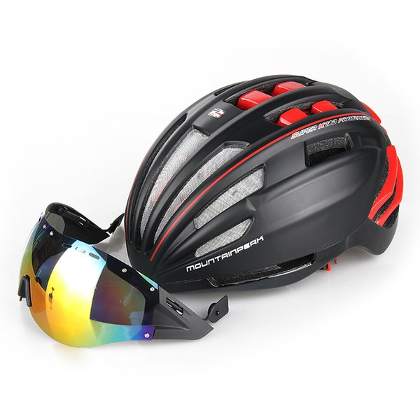 Unibody Bicycle Riding Helmet Glasses With Mountain Bike Helmets and Goggles Riding Gear Lenses Colorful Ultra Light