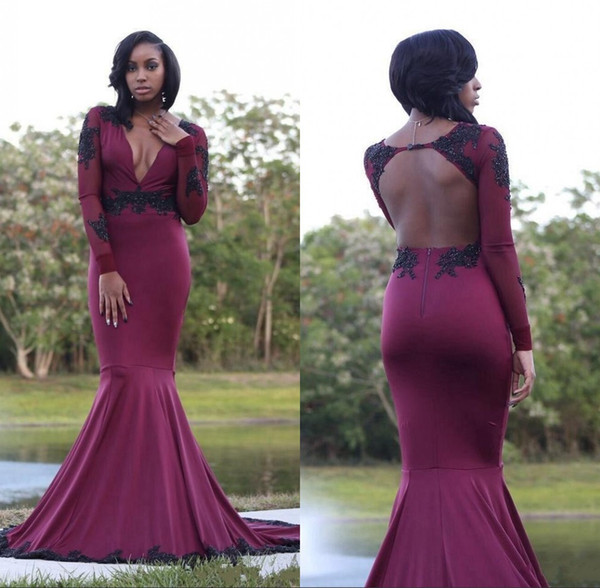 Sexy cuello en V profundo Borgoña vestidos de baile 2018 sirena con mangas largas de encaje lentejuelas perlas espalda abierta vestido de noche de vino tinto vestidos de África
