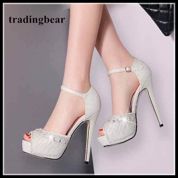 Bridal Wedding Shoes Silver Rhinestone Crystal Studded Platform Ankle Strap Heels Womens Prom Shoes Size 34 To 39 2018