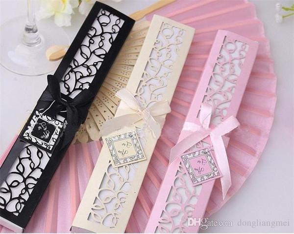 Chinese Silk Folding Luxurious Silk Fold Hand Fan in Elegant Laser-Cut Gift Box Party Favors Wedding Gifts WN483