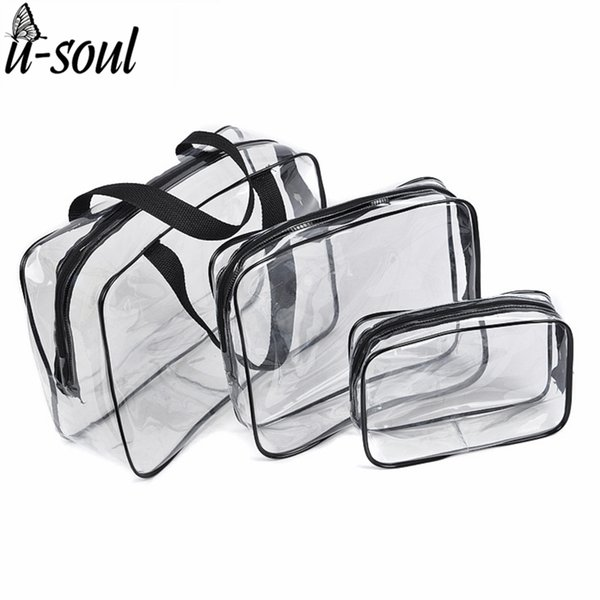 3Pcs Cosmetic Bag Set Fashion Transparent Beauty Bag Waterproof Handbags Wash Bags Ladies Make Up Storage Bag SC0328