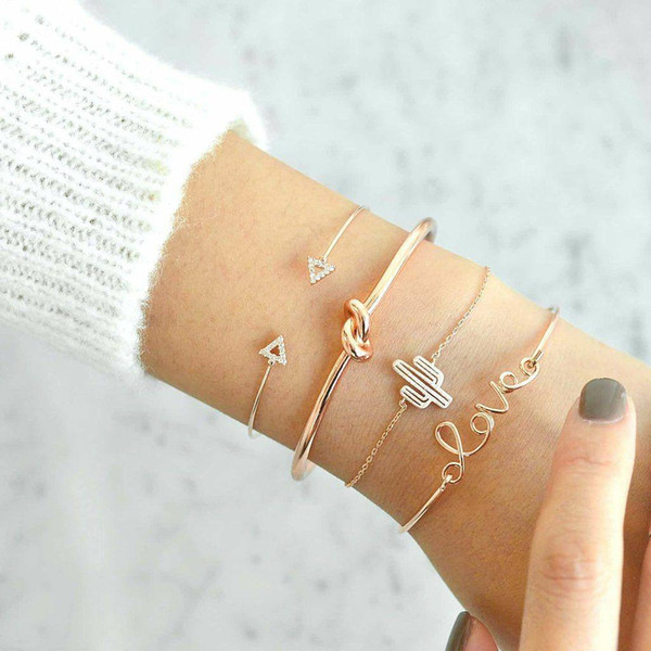 Sets Gold Arrow Bow Love Cactus Bracelets Adjustable Open Bangle Cuffs Fashion Jewelry for Women Drop Ship 320178