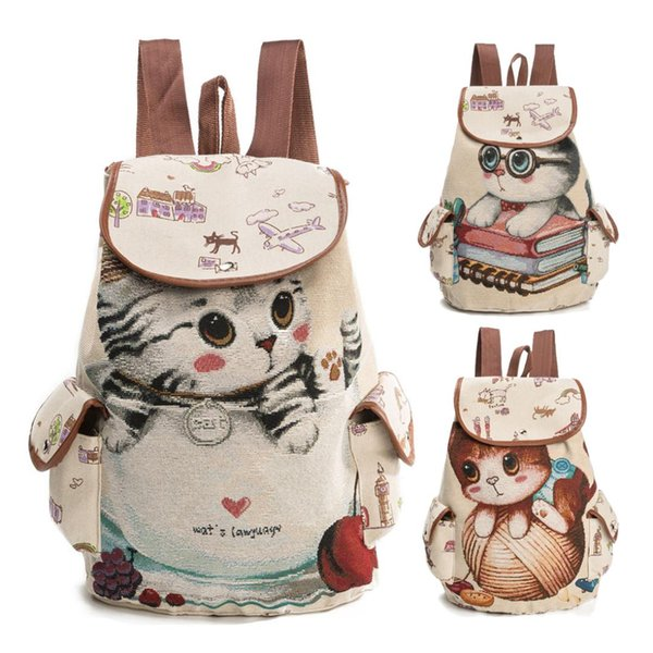 Lemon Kitten Canvas Cat Printing Kids Backpack Softback Zipper Children School Bags For Teenage Girls Dolescence Rucksack 2018