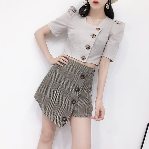 bf6784e814 Women Sets Lady Summer Korean Chic Square Neck Half Puff Sleeve Single  Breasted Short Crop Tops
