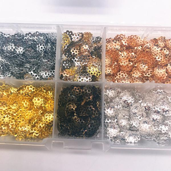 Conclusions de fleurs creuses perles d'extrémité de cône Cap en filigrane fabrication de bijoux de bricolage 2000pcs / set 6mm