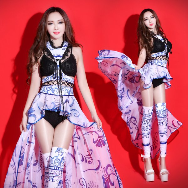 New Sexy Atmosphere Nightclub Female Singer Led Costume Pole Dance Clothing Bodysuit Rave Clothes Catwalk Bar Ds Costume DN1728