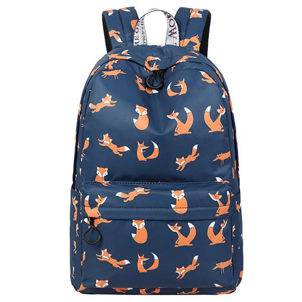 High Quality Waterproof Women School Backpack Cute Fox Pattern Printing Female Travel Daily Laptop Bagpack Kawai Knapsack Y18110201