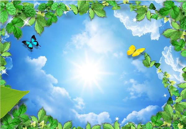 Desktop Wallpaper Free Hd Flower Vine Butterfly Clouds Dove Ceiling Zenith Murals Window Mural Wallpaper Art Wallpaper As Wallpaper Hd From