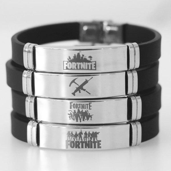 Fortnite Bracelet Adjustable Stainless Steel +Silicone Charm Wristband Bracelet For Women Men Jewelry Supplies Favors Accessories HH7-1716