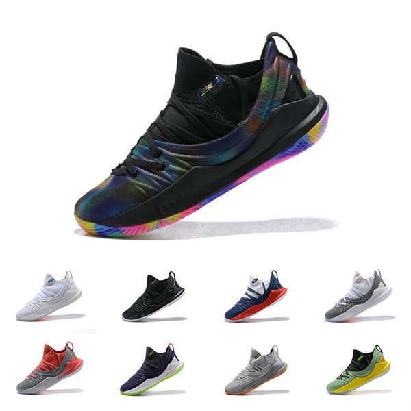 New Arrival Stephen Curry 5 Black Rainbow Basketball Shoes Mens Navy Pi Day Welcomes Home All white Elemental Fired Up Sports Running Shoes