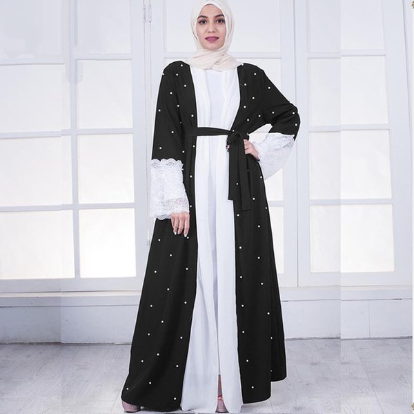 Fashion Women Muslim Robe Classic Black and White Color Matching Lace Pearls Long Sleeve Middle Eastern Dubai Hot Cardigan Robes Abaya