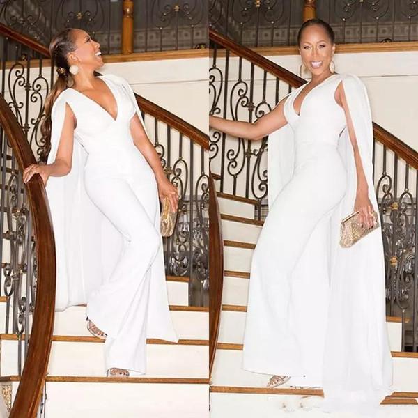 lilliantan / Branco Jumpsuit Evening Prom Vestidos de Festa Vestido de Noite Vestidos com Cape Wrap Vestido De Festa V Neck Calças Terno Vestidos Plus Size Perso