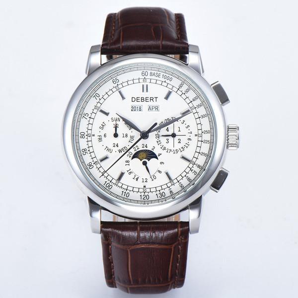42mm debert 화이트 문스톤 날짜 다이얼 다기능 자동 태엽 남성 손목 시계