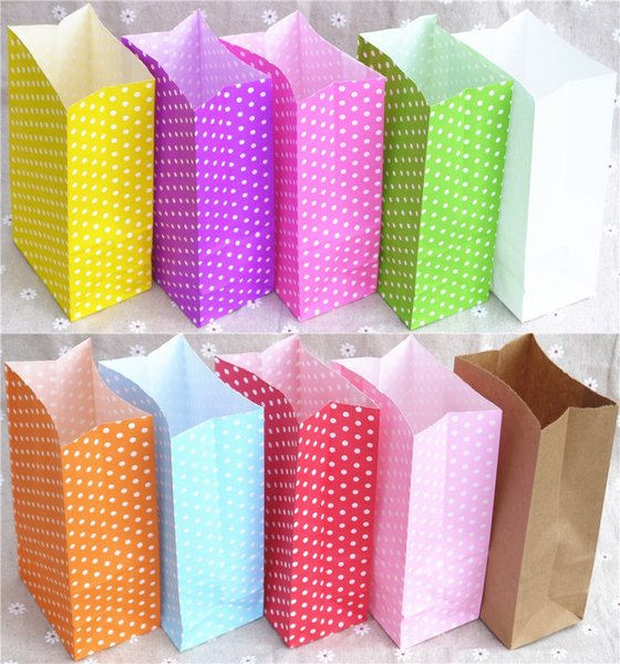 Gift Bag new paper bag Stand up Colorful Polka Dot Bags 18x9x6cm Favor Open Top Gift Packing paper Treat wholesale