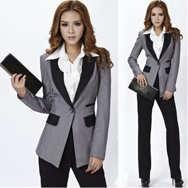 Customized new fashion solid color suit two-piece suit (jacket + pants) ladies business office official business wear