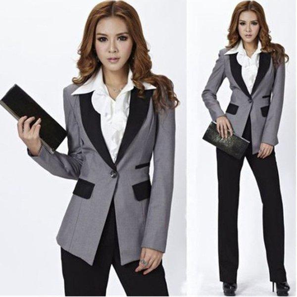 Traje de dos piezas del traje de color sólido modificado para requisitos particulares de la nueva moda (chaqueta + pantalones) ropa oficial del negocio de la oficina de negocios de las señoras