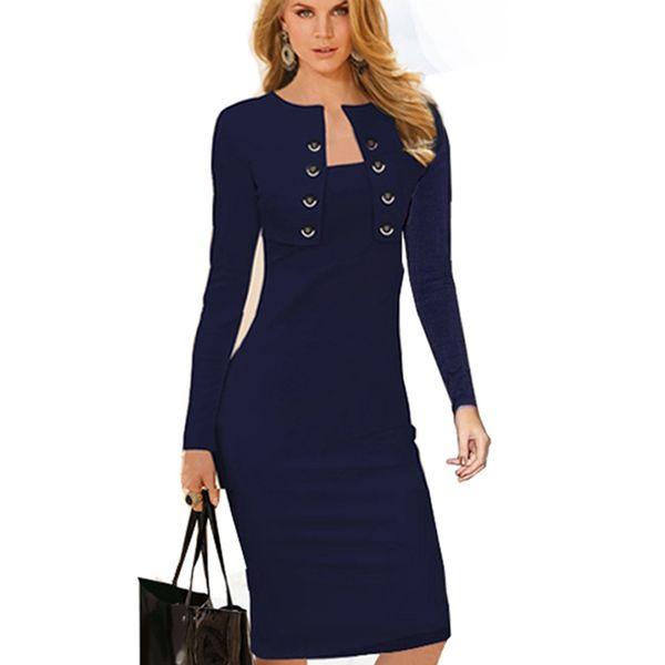 Autumn Winter Women Business Casual Sliming Pencil Dresses Elegant Long Sleeve Office Ladies Wear To Work EB10 D1891703