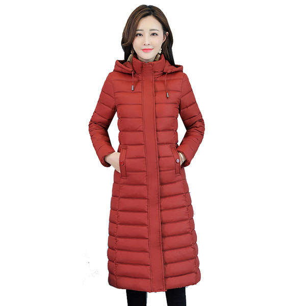 2018 new cotton women's long section slim slim slimming hooded down cotton padded knee warm jacket